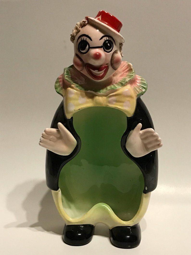 Vintage ceramic clown container, Clown Decor, Vintage Clown, Clown