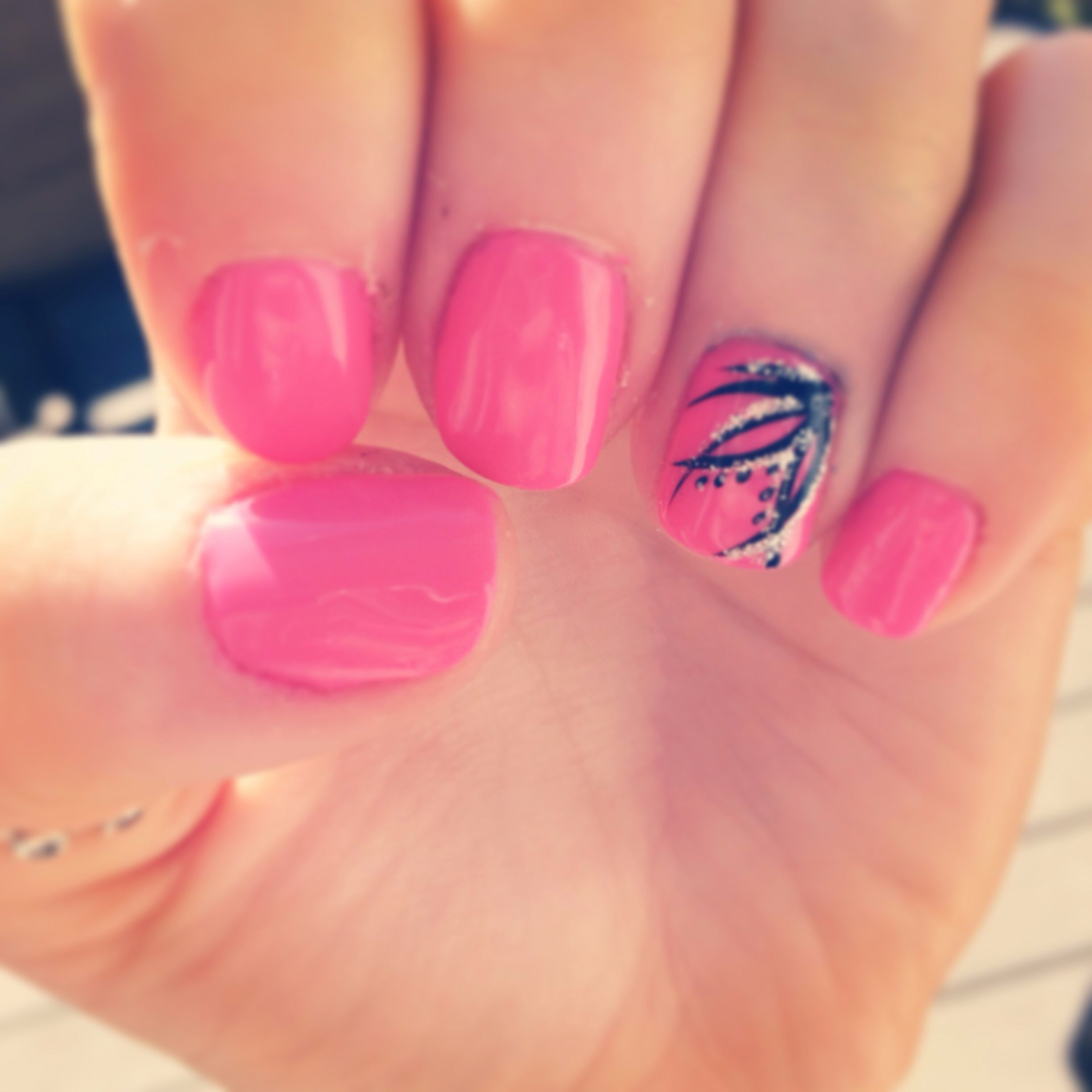 Pink Shellac Nails With Line Design Nail Creations Pinterest