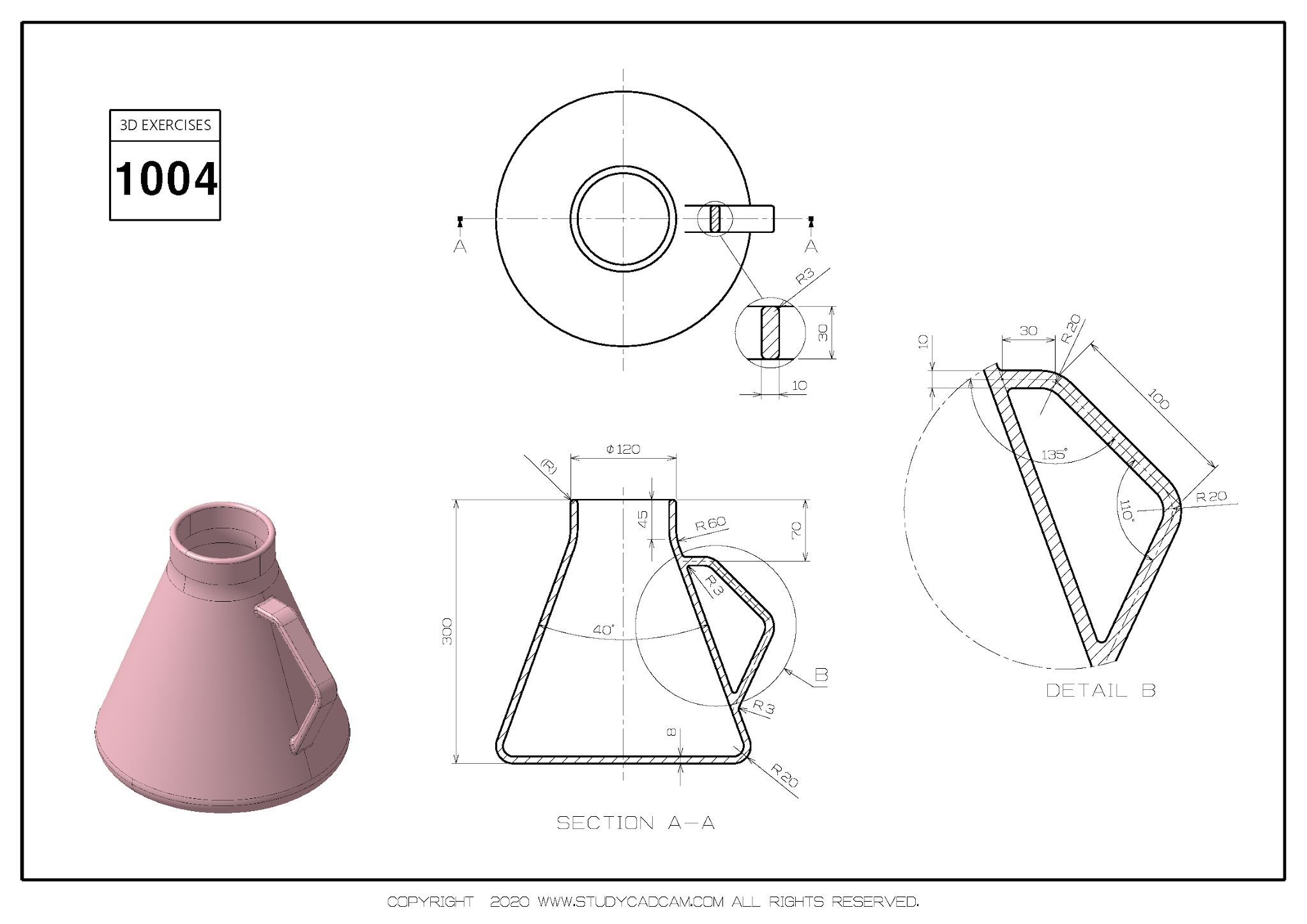 3D CAD EXERCISES 1004 - STUDYCADCAM