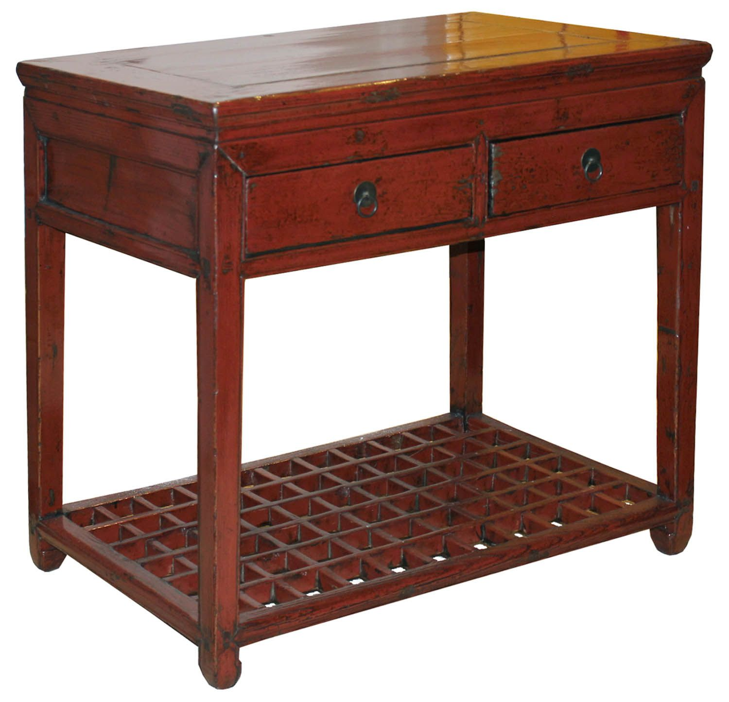 red entry table. Vintage Two Drawer Desk With Horse Hoof-style Feet And Lattice Bottom Shelf Can Be Red Entry Table R