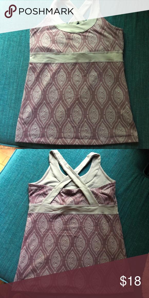 Purple and gray yoga/fitness tank w built-in bra