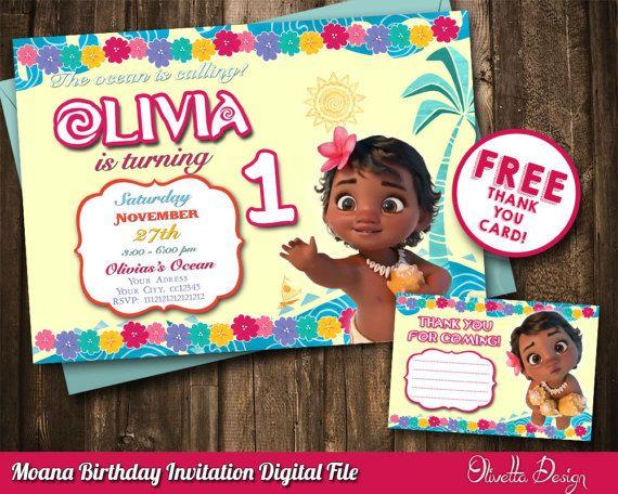 Moana Baby Invitation Vaiana Printable Digital File Birthday Pa