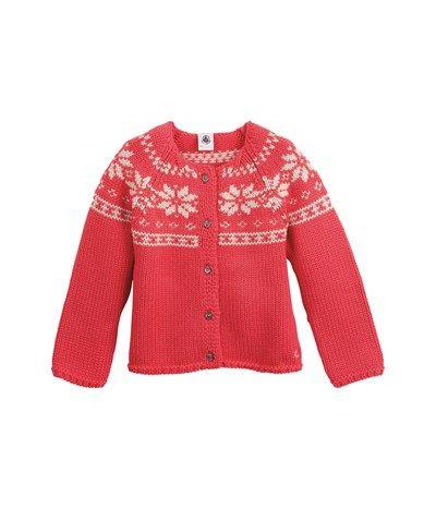 Conception innovante 11c10 21f9b Cardigan fille en tricot de laine à motif nordique rose ...