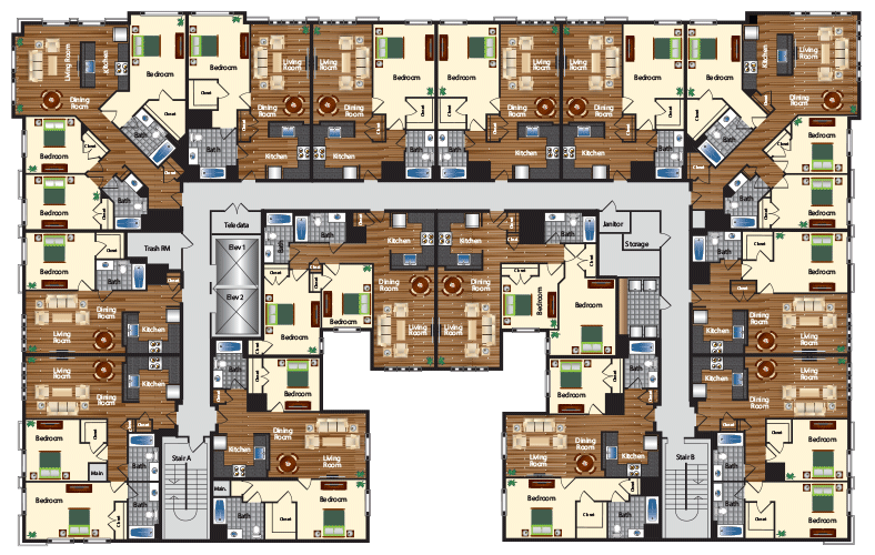 Apartment Complex Random Floor Plan Small