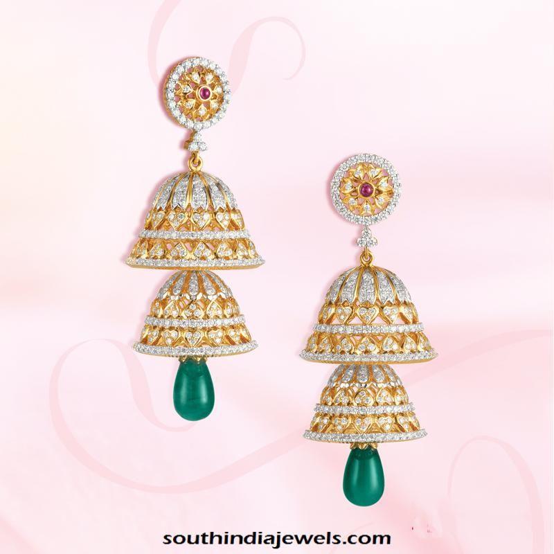 092e08722 Gold Stone Jhumka From GRT Jewellers   Jewellery   Earrings, Diamond ...