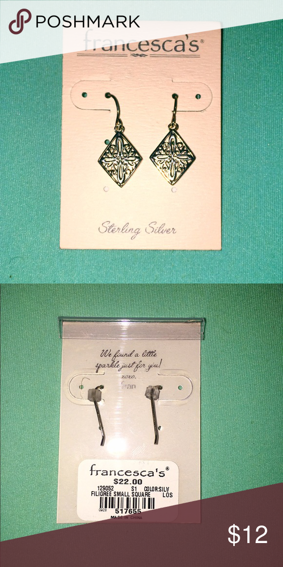 78fad213e Diamond shaped dangle earrings Simple sterling silver diamond shaped  filigree dangles Francesca's Collections Jewelry Earrings