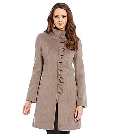 Tahari Kenya Ruffle Front Coat #Dillards