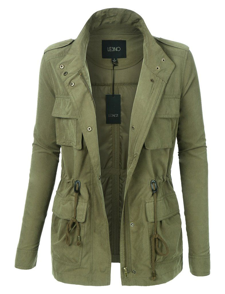 338995bab Womens Lightweight Stand Collar Utility Safari Military Jacket ...