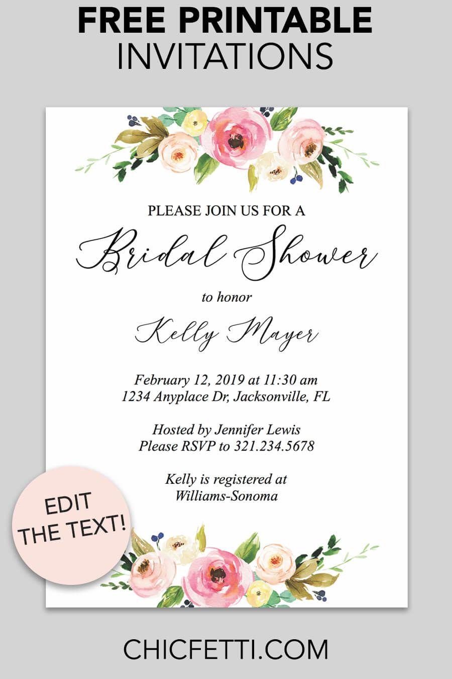 Floral Printable Invitation Free Printable Invitations Free
