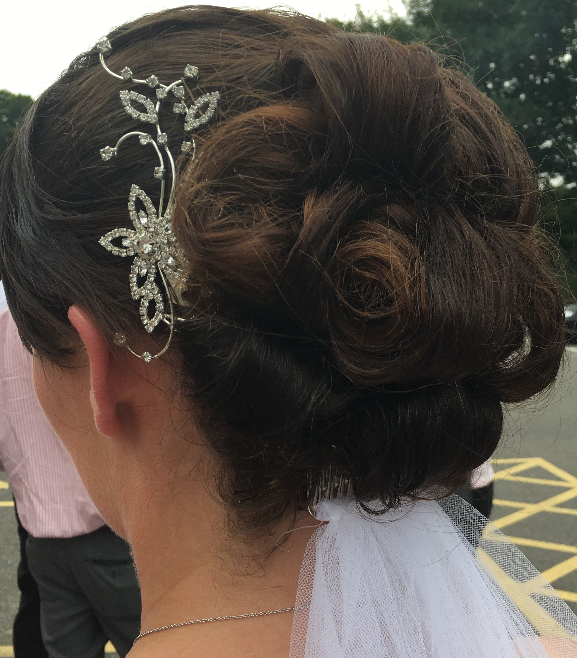 Bridal hair with low veil