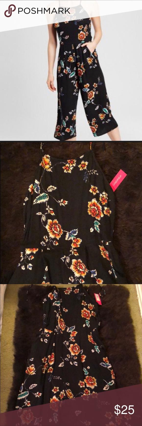 Xhilaration Target Black Floral Capri Jumpsuit Capri Jumpsuit Clothes Design Pants For Women [ 1740 x 580 Pixel ]