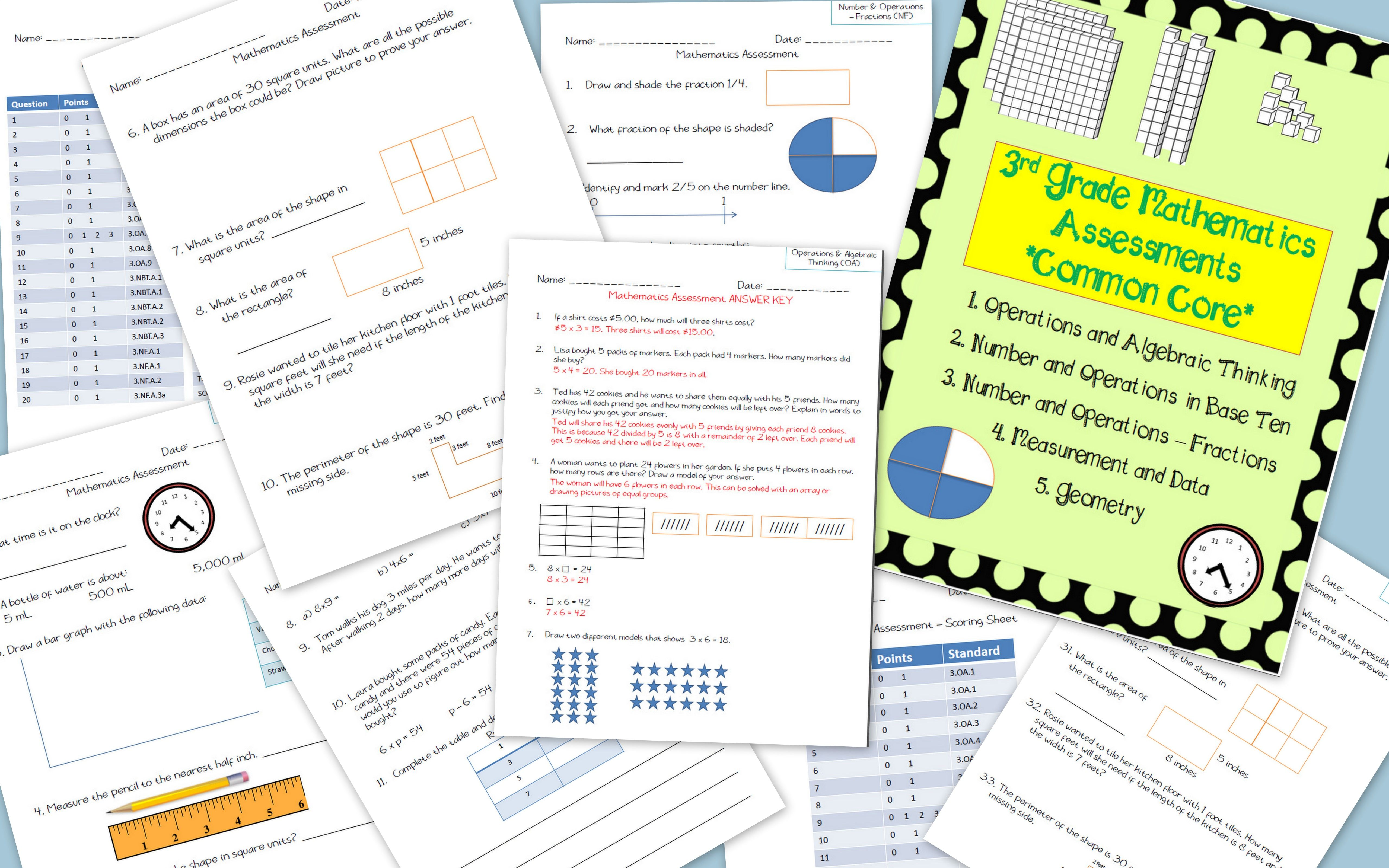 3rd Grade Math Assessments For Common Core