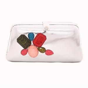 Eclectic Multiple Stone Studded Clutch-Silver