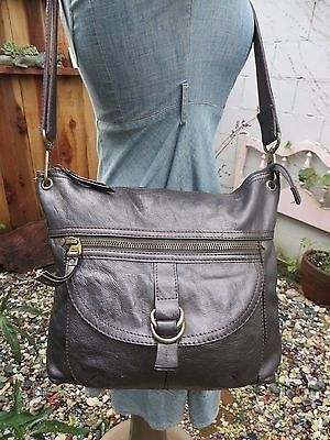 awesome FOSSIL LONG LIVE VINTAGE SASHA PEWTER LARGE CROSSBODY BAG PURSE TOTE HANDBAG - For Sale
