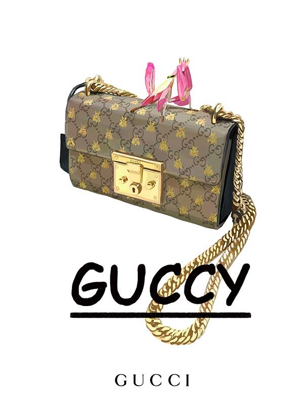 484d9f51b59 The Gucci Padlock bag in GG motif featuring gold bees, depicted by Ignasi  Monreal with Guccy in Comic Sans, a typeface from the 90s. Gucci Gift.