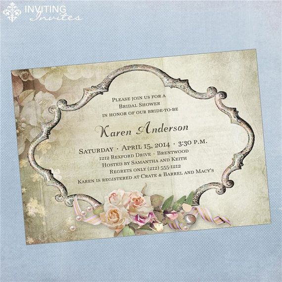 vintage victorian frame bridal shower invitation printable digital file