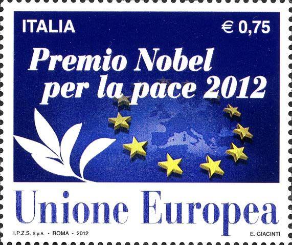 2012 - Premio Nobel per la pace 2012 all'Unione europea - Sagoma dell'Europa e stelle
