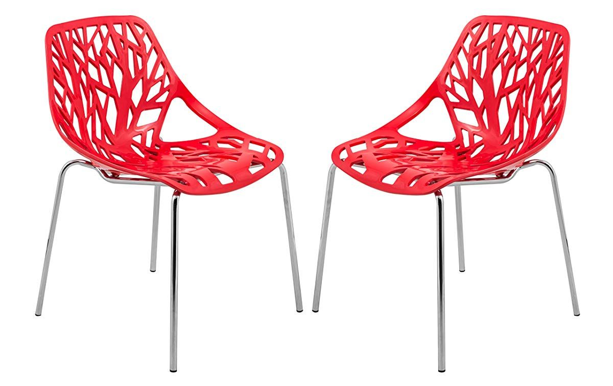 Modern Side Dining Chair With Chromed Legs Red Dining Chairs