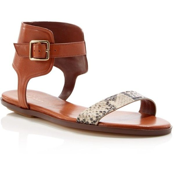 Cole Haan Barra Snake-Embossed Ankle Strap Flat Sandals ($148) ❤ liked on Polyvore featuring shoes, sandals, camello, strappy flat sandals, strap flat sandals, ankle tie flat sandals, leather sandals and flat leather sandals