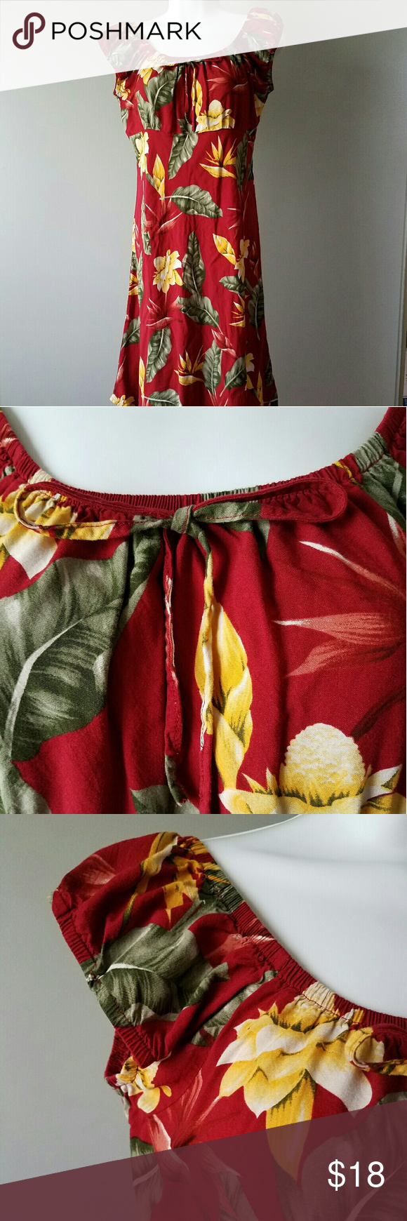 6bf59373708 Hibiscus Collection Hawaii floral beach dress Great condition. Size S.  Beach floral dress. Red color. Hibiscus Collection Hawaii Dresses Midi