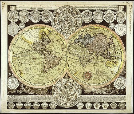 Antique world maps old world map illustration digital image antique world maps old world map illustration by mapsandposters 999 gumiabroncs Choice Image