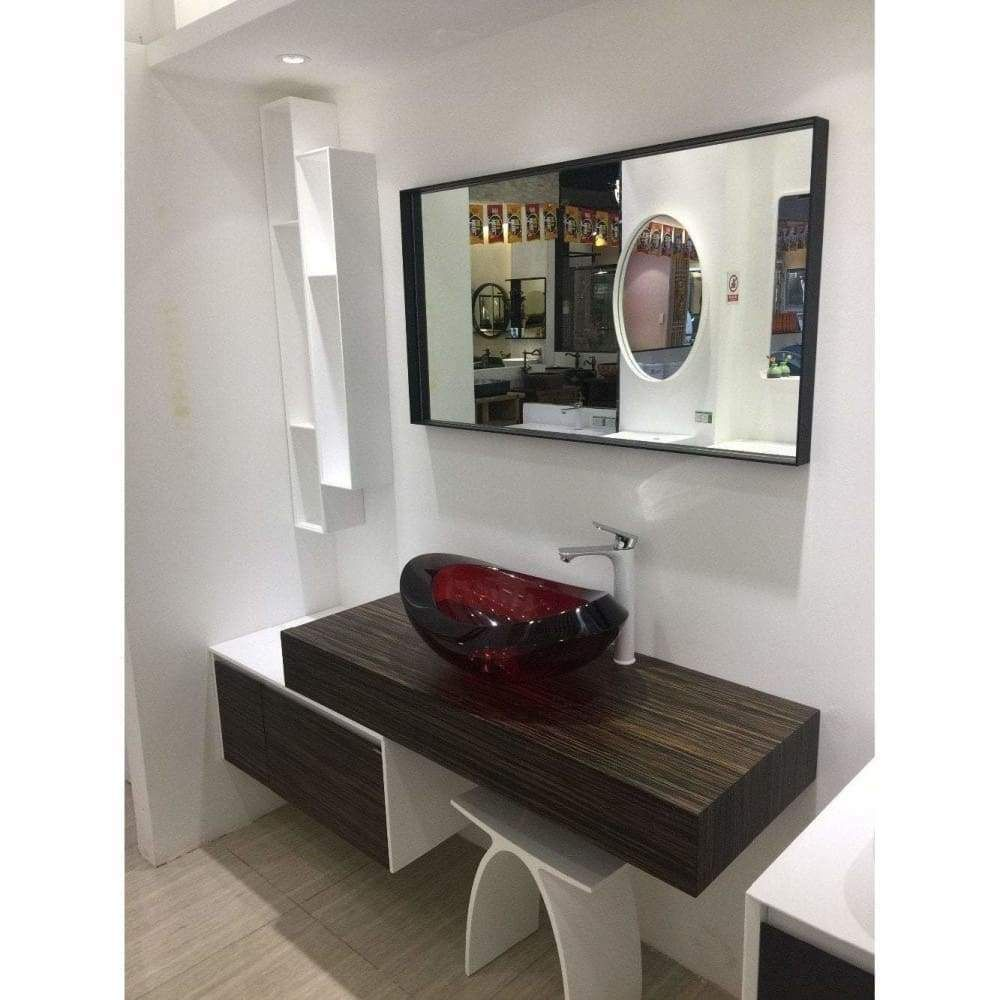 wall mounted solid surface stone single basin with solid