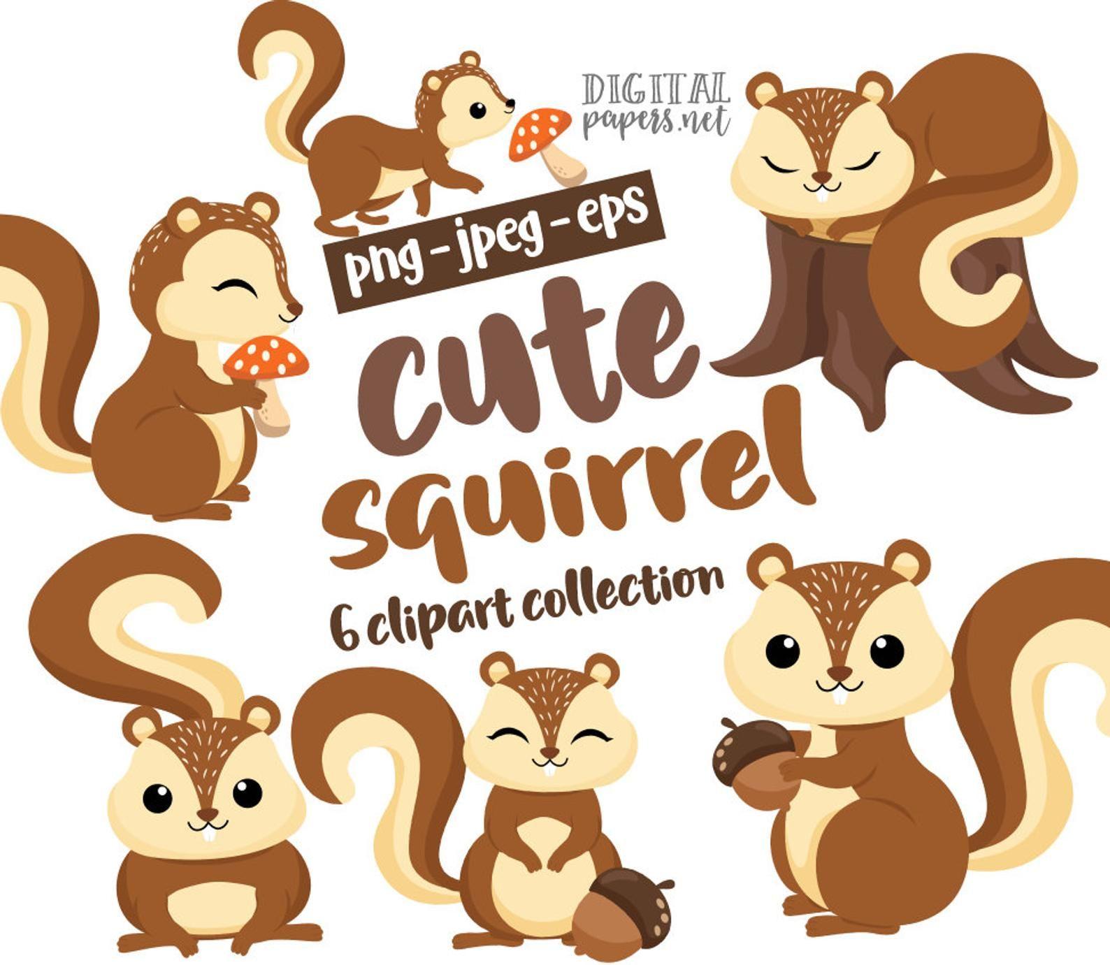Squirrel Clipart Woodland Animals Fall Graphics Woodland Etsy Squirrel Clipart Clip Art Cute Squirrel