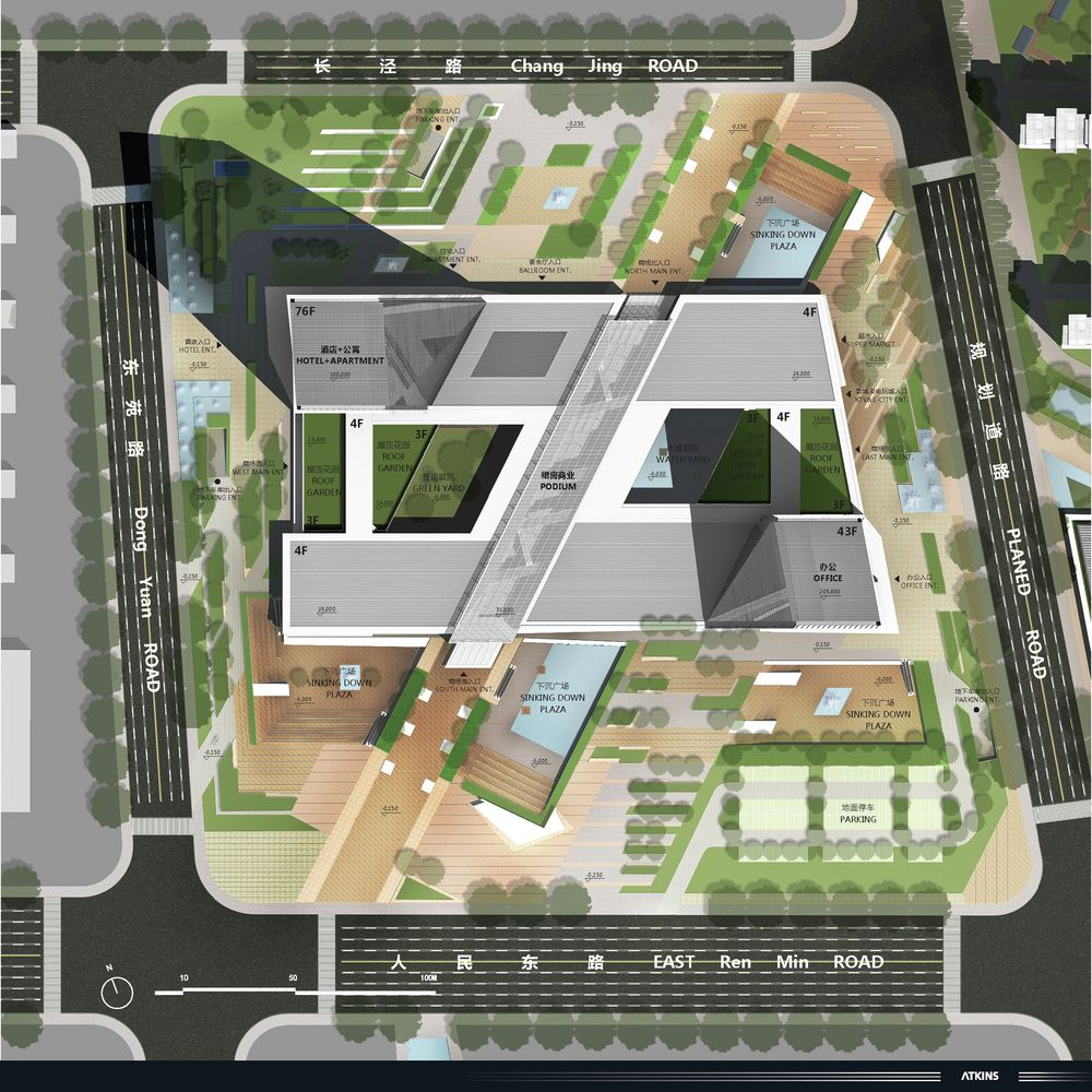 Gallery Of Mixed Use Center In Zhangjiagang Atkins 20 Landscape Architecture Plan Architecture Site Plan Hospital Architecture
