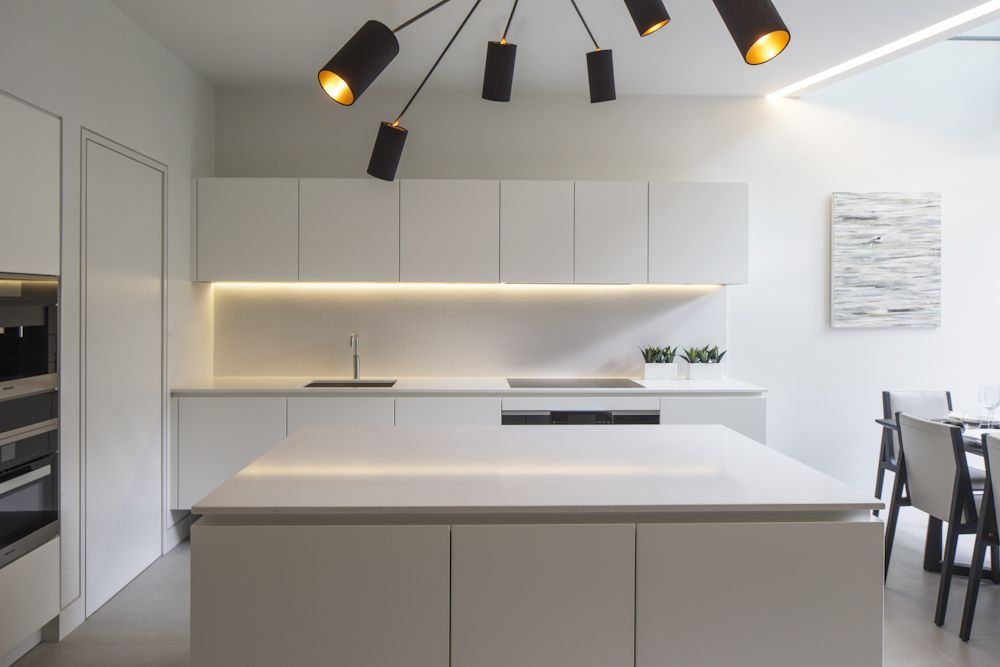Best Matt White Handleless Kitchen Minimal Contemporary 400 x 300