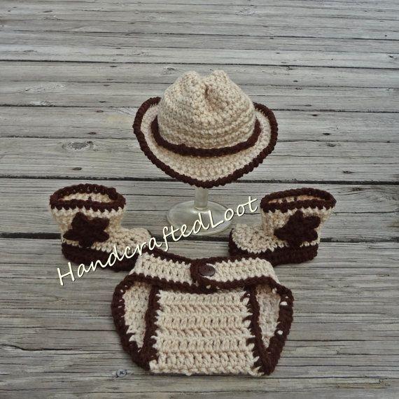Newborn Crochet Baby Cowboy Hat Boots Photo Prop Set Outfit Shower