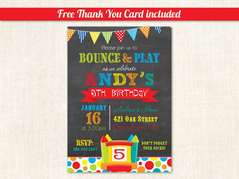 Bounce House Birthday Invitations Pump It By