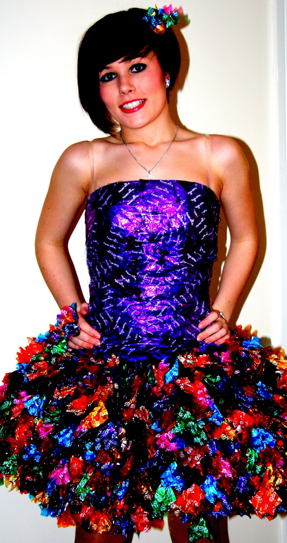 Sweet Wrapper dress made from 1500 cadburys sweet wrappers ...