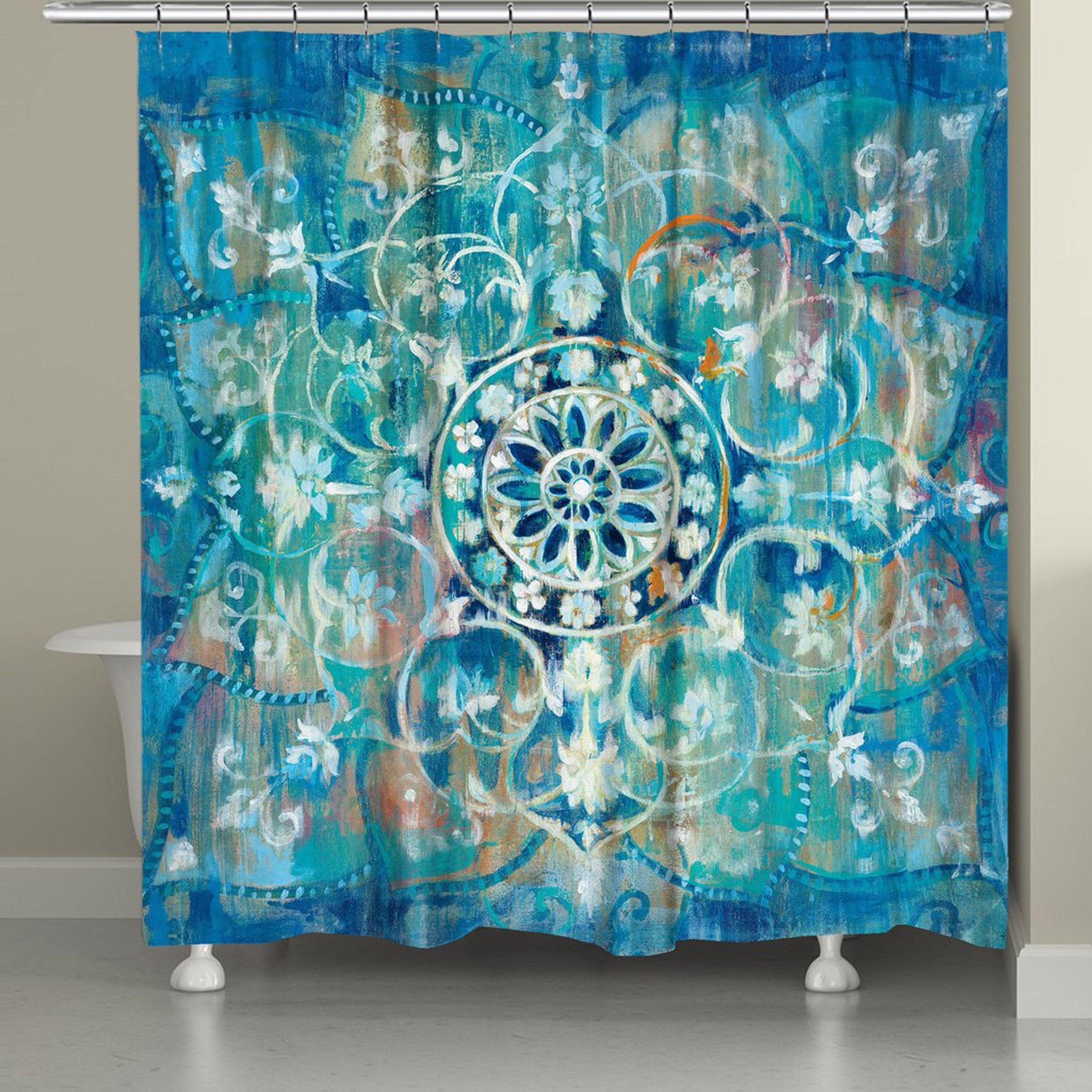 Laural Home Moody Blue Mandala Shower Curtain Mandala Shower