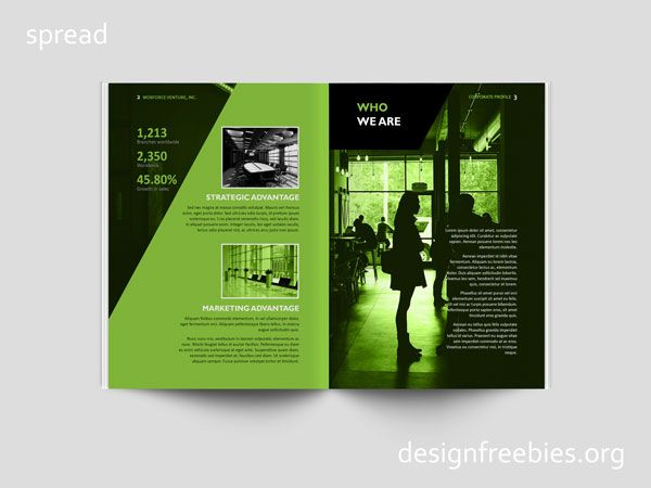 Free Black and Green Company Profile InDesign Template Free - free company profile template word