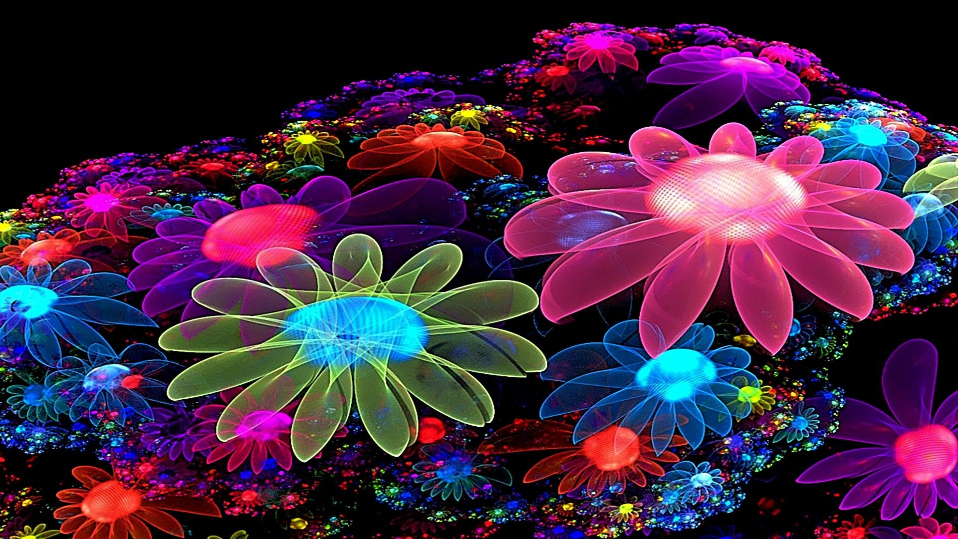 Glittering Abstract Flowers Hd Wallpapers Colorful Flowers