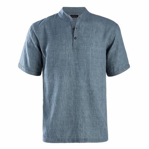 027cc6a5fbe Dioufond 2018 Summer Men Short Sleeves Slim Fit Shirt Causal Style Male  Mandarin Collar Tops Button Solid Men Fashion Shirt XL