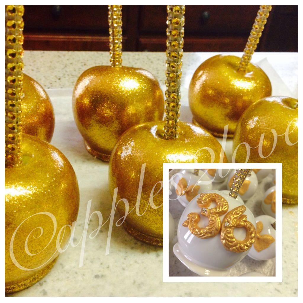 a561cc74c318 Custom metallic gold gourmet candy apples! Caramel Candy