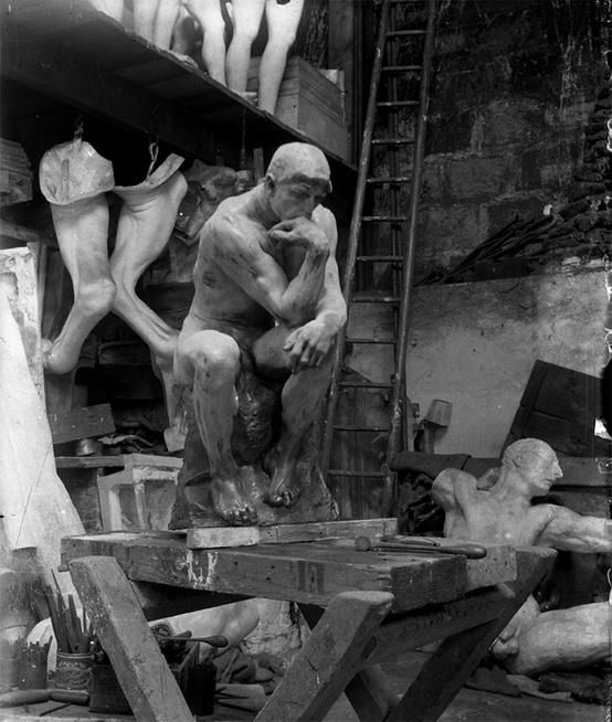 Auguste Rodin's workshop, 1900. The Thinker. http://anexperimentindepth.blogspot.com/2013/03/blog-post_13.html