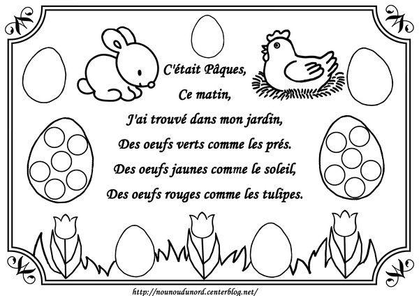 Coloriage Joyeuses Paques Maternelle.Comptine De Paques Illustree Par Nounoudunord Bricolage Easter