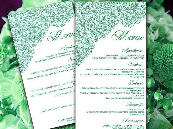 Wedding Menu Card Microsoft Word Template | Hydrangea