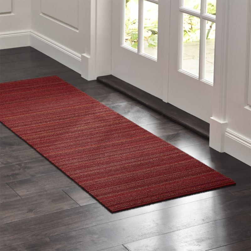 Shop Chilewich 24 X72 Red Rug Runner Doormat Durable All Weather Pvc And Polyester Are Textured And Looped In Tonal Bands Of R Red Runner Rug Rugs Door Mat