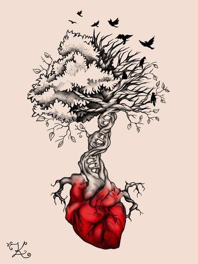Tree Heart Birds DNA Tattoo by Elvina-Ewing on DeviantArt