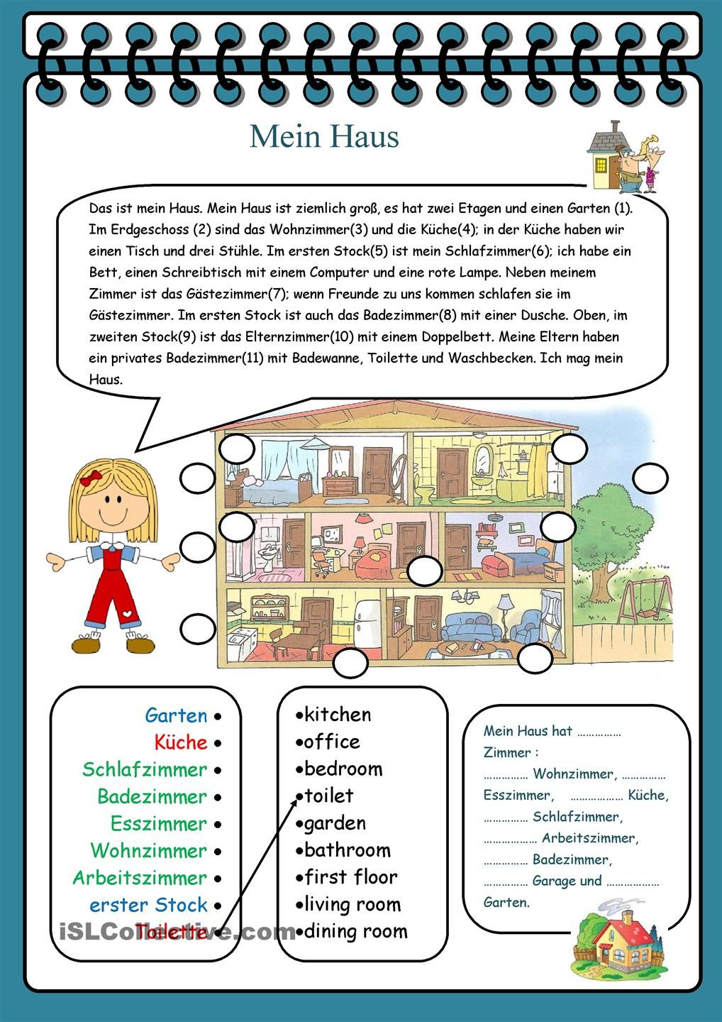 Mein Haus | Haus, Worksheets and German