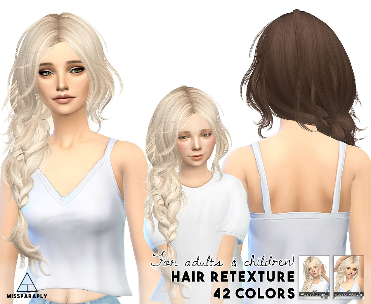 The sims 4 hairstyles cc - Miss Paraply Maysims 43 Hairstyle Retextured Sims 4 Hairs Http The Simssims Cclong
