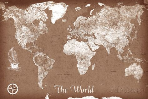 Vintage style map of the world poster print poster and maps maps maps vintage style map of the world art print poster print at allposters gumiabroncs Images
