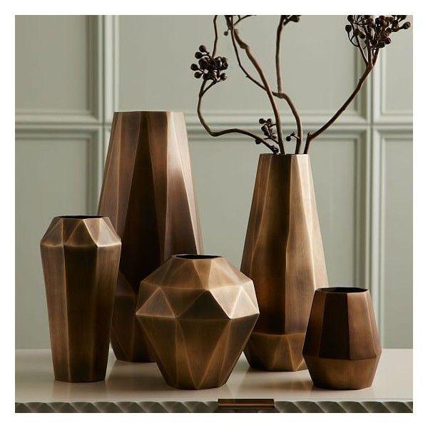 West Elm Faceted Deco Metal Vase Antique Brass Bud 24 Liked