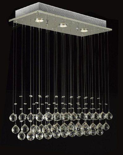 Modern Chandelier Rain Drop Lighting Crystal Ball Fixture Pendant Ceiling Lamp H39 X W25