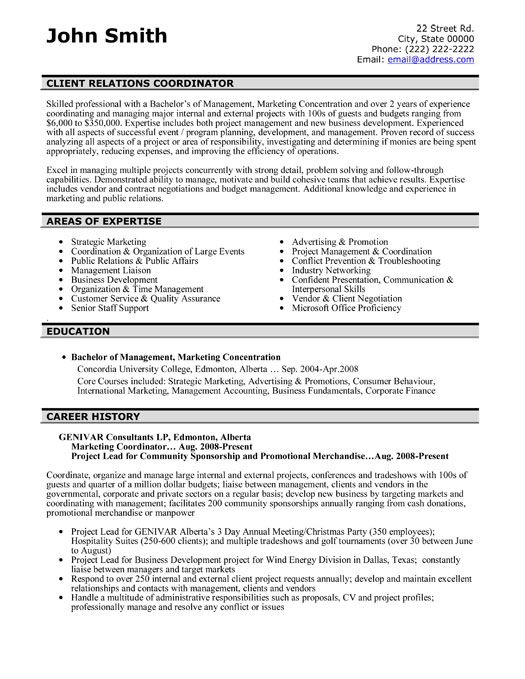 A resume template for a Client Relations Coordinator You can - sample marketing coordinator resume