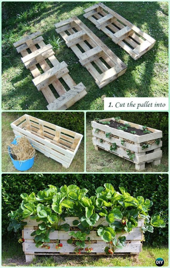 10 space saving strawberry garden gardening planter ideas for Pallet veggie garden