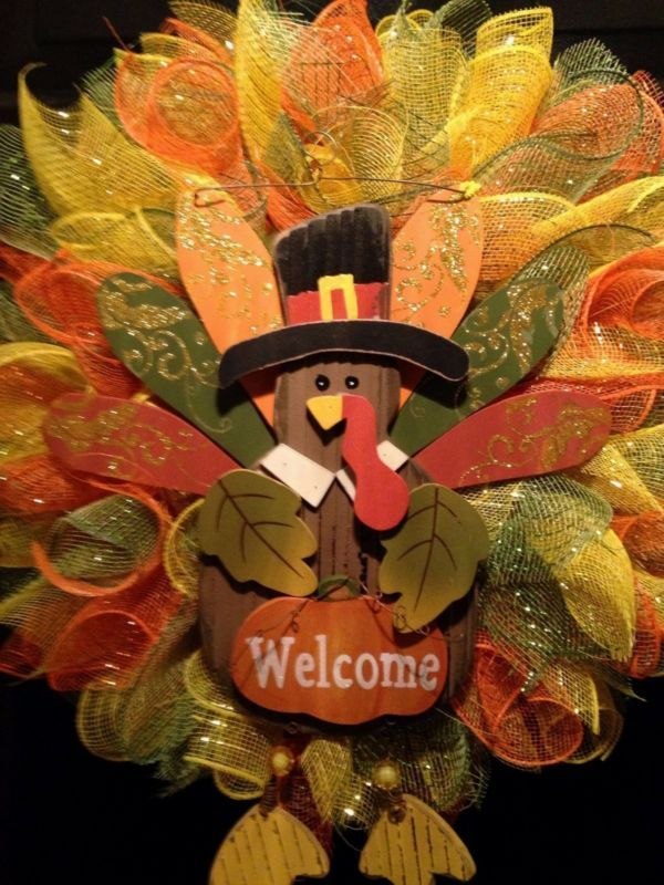 fall wreath thanksgiving autumn turkey deco mesh